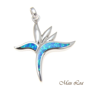925 Sterling Silver Rhodium Hawaiian Bird of Paradise Flower Blue Opal Pendant
