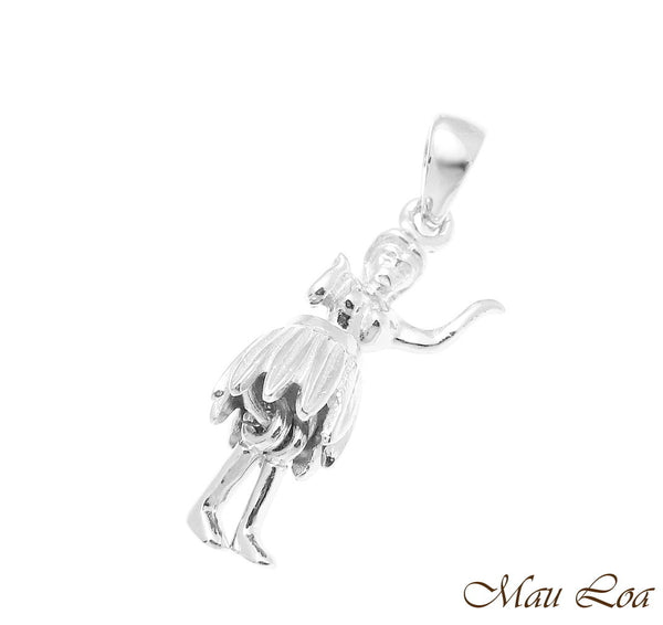 925 Sterling Silver Hawaiian Hula Girl Dancer Movable Legs and Skirt Pendant