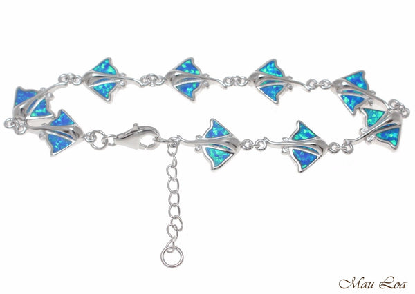 "925 Sterling Silver Rhodium Hawaiian Stingray Ray Fish Blue Opal Bracelet 7""+"