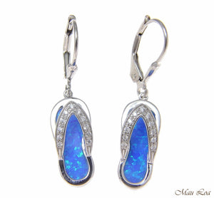 925 Sterling Silver Rhodium Hawaiian CZ Slipper Blue Opal Leverback Earrings