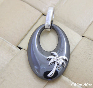 925 Silver Rhodium Hawaiian Coconut Palm Tree Black Ceramic Oval Pendant