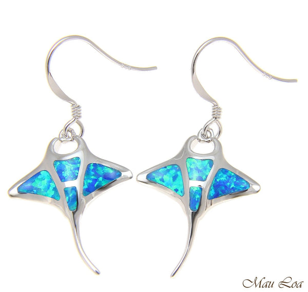 925 Sterling Silver Rhodium Hawaiian Manta Ray Fish Blue Opal Hook Wire Earrings