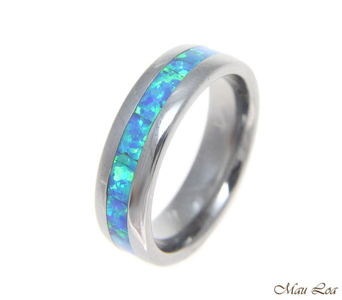 Tungsten 6mm Wedding Band Ring Unisex Blue Opal Inlay Comfort Fit Size 5-13