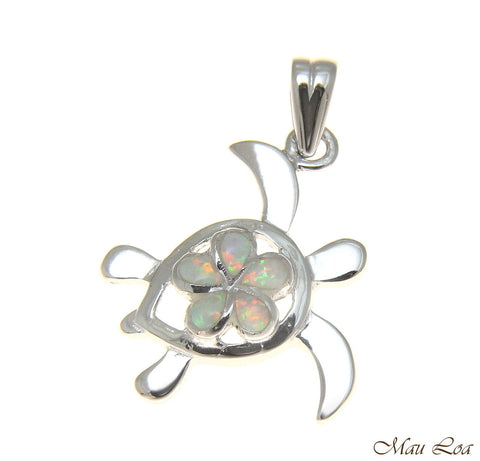 925 Silver Rhodium Hawaiian Plumeria Flower Honu Sea Turtle White Opal Pendant