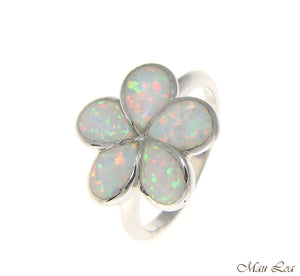 925 Sterling Silver Rhodium Hawaiian Plumeria Flower White Opal Ring Size 5-10