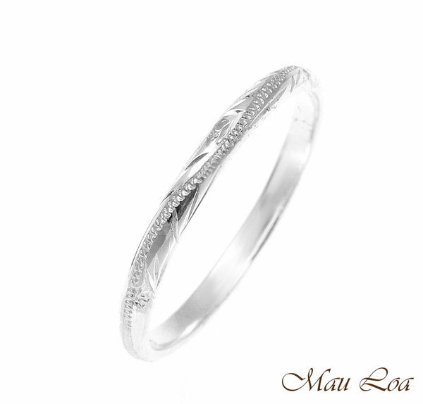 925 Sterling Silver 2mm Hawaiian Scroll Hand Engraved Ring Band