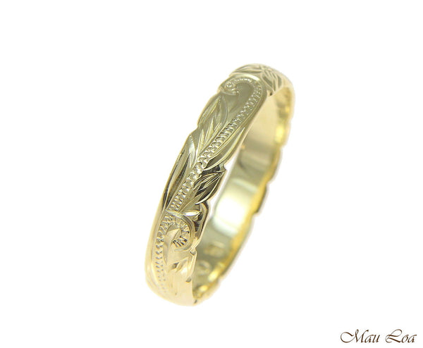 925 Sterling Silver Yellow Gold 4mm Hawaiian Scroll Cut Out Edge Ring Band #1-14