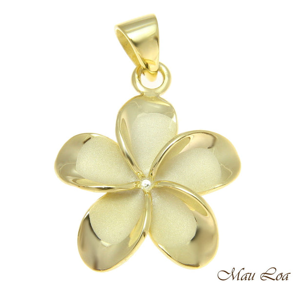 925 Silver Yellow Gold Hawaiian Plumeria Flower No CZ Stone Pendant 10-25mm