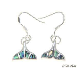 925 Sterling Silver Hawaiian Whale Tail Abalone Shell Paua Wire Hook Earrings