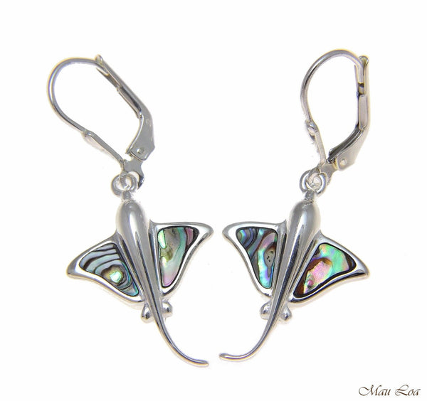 925 Sterling Silver Hawaiian Stingray Fish Abalone Shell Paua Leverback Earrings