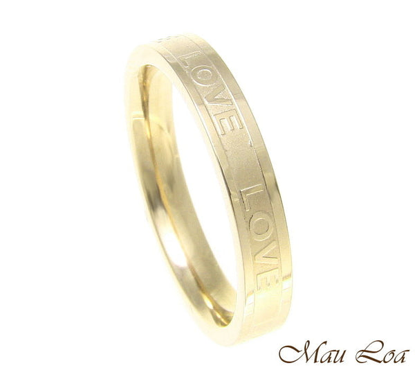 Stainless Steel Ring Wedding Band Love 3.5mm Yellow Gold Plated Size 3-10