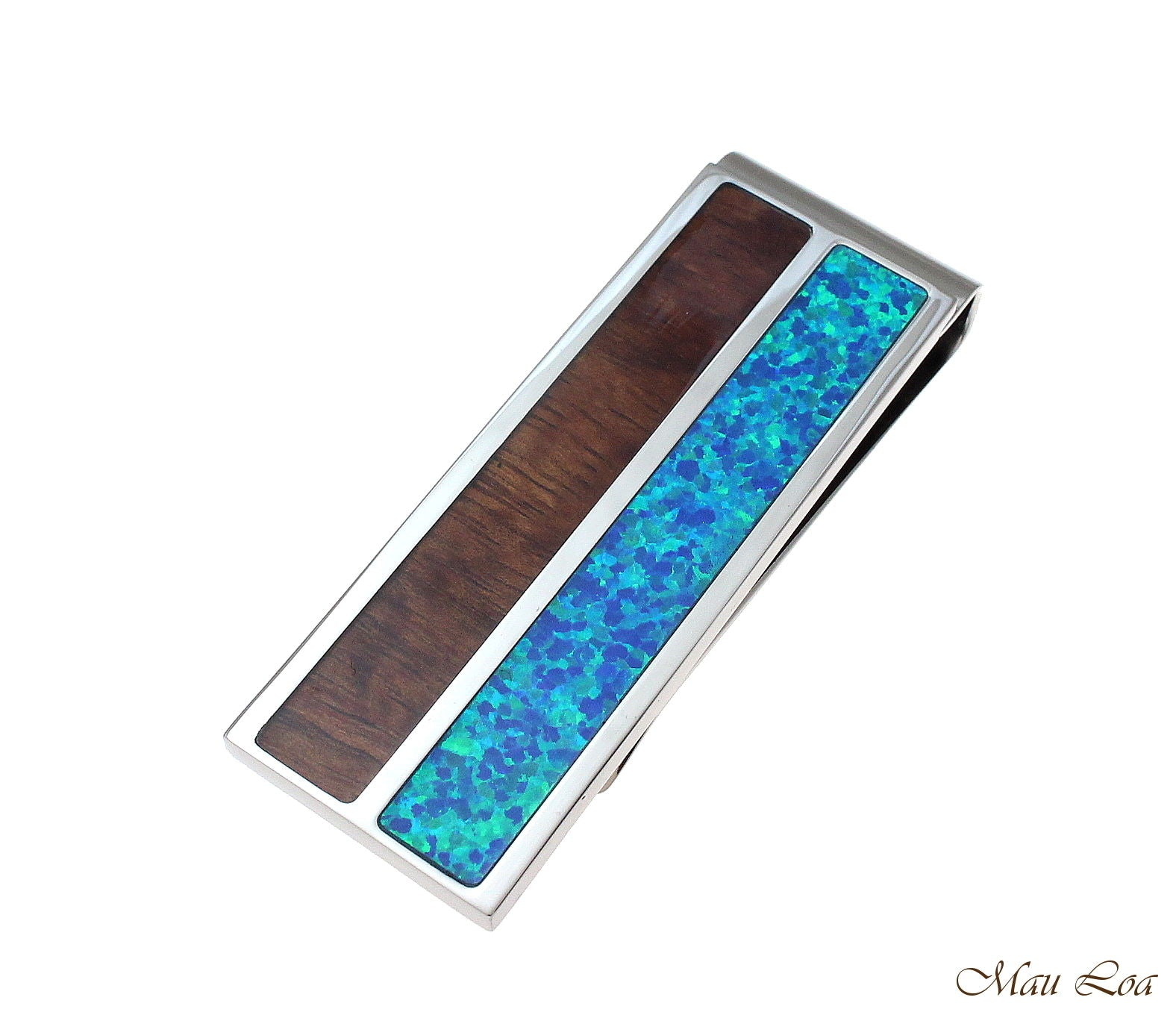 Stainless Steel Genuine Hawaiian Koa Wood Blue Opal 20mm Money Clip Cash Holder