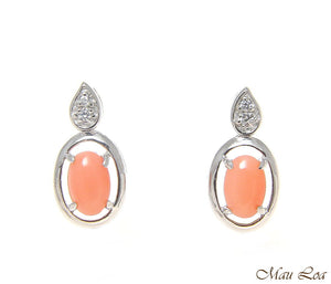 925 Sterling Silver Rhodium CZ Genuine Natural 4x6mm Oval Pink Coral Earrings