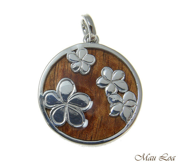 Koa Wood Hawaiian Scroll Plumeria Flower Circle Rhodium Brass Reversible Pendant