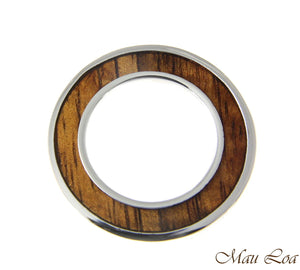 Koa Wood Hawaiian Scroll Circle Round Rhodium Silver Plated Brass 2Sided Pendant