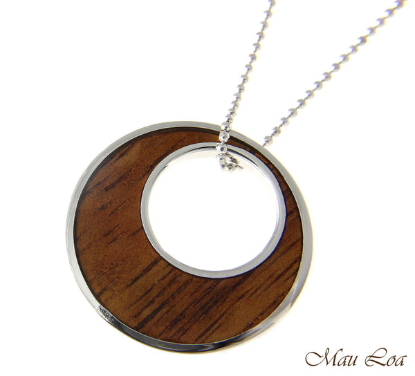 Koa Wood Hawaiian Scroll Circle Ocean Wave Rhodium Silver Plated Brass Pendant