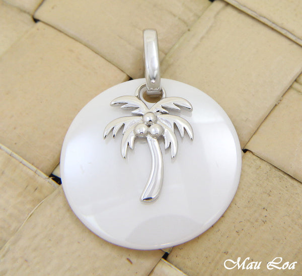 925 Silver Rhodium Hawaiian Coconut Palm Tree White Ceramic Circle Round Pendant