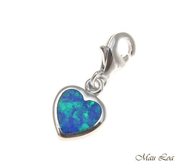 925 Sterling Silver Rhodium Hawaiian Heart Opal Clasp Enhancer Pendant Charm