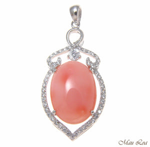 925 Sterling Silver Rhodium CZ Genuine Natural Oval 12x18mm Pink Coral Pendant