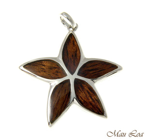 Koa Wood Hawaiian Plumeria Tropical Flower Rhodium Silver Plated Brass Pendant