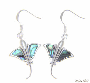 925 Sterling Silver Hawaiian Stingray Fish Abalone Shell Paua Wire Hook Earrings