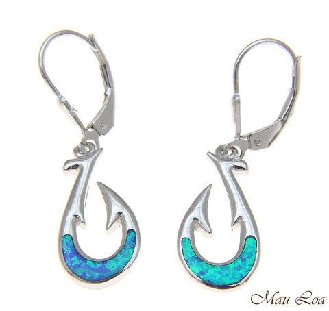 925 Sterling Silver Rhodium Hawaiian Fish Hook Blue Opal Leverback Earrings