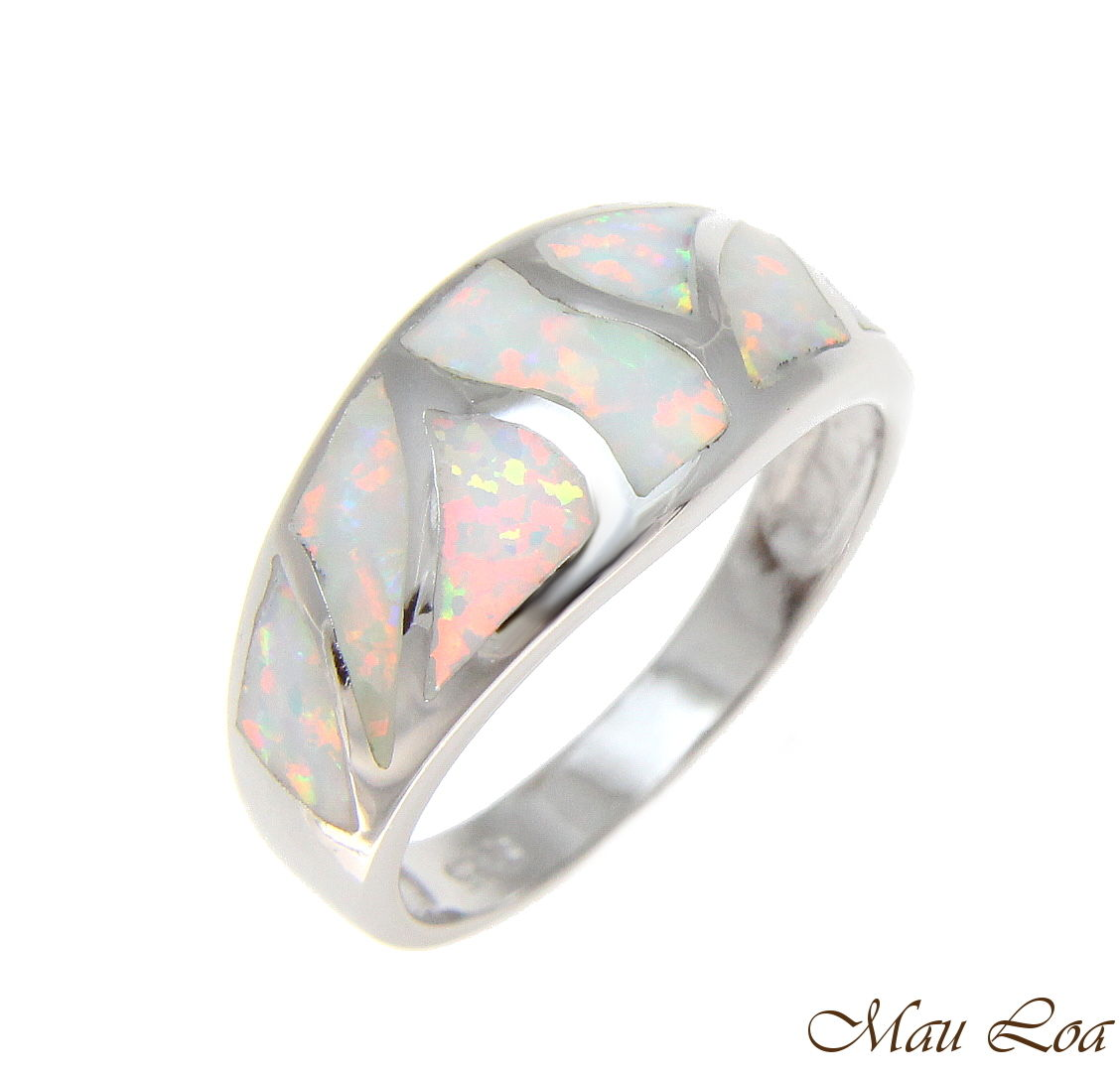 925 Sterling Silver Rhodium Women Men White Opal Ring Size 5-10