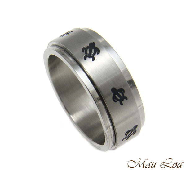 Stainless Steel Spinner Ring Band 8mm Black Enamel Hawaiian Honu Turtle Sz#6-14