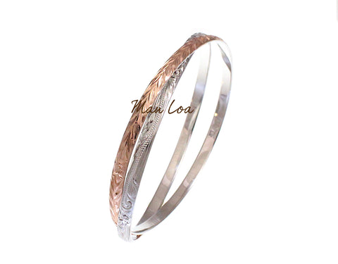925 Sterling Silver Hawaiian Scroll Plumeria Maile Leaf 2T Rose Gold Plated 2 in 1 Bangle Size 7-9