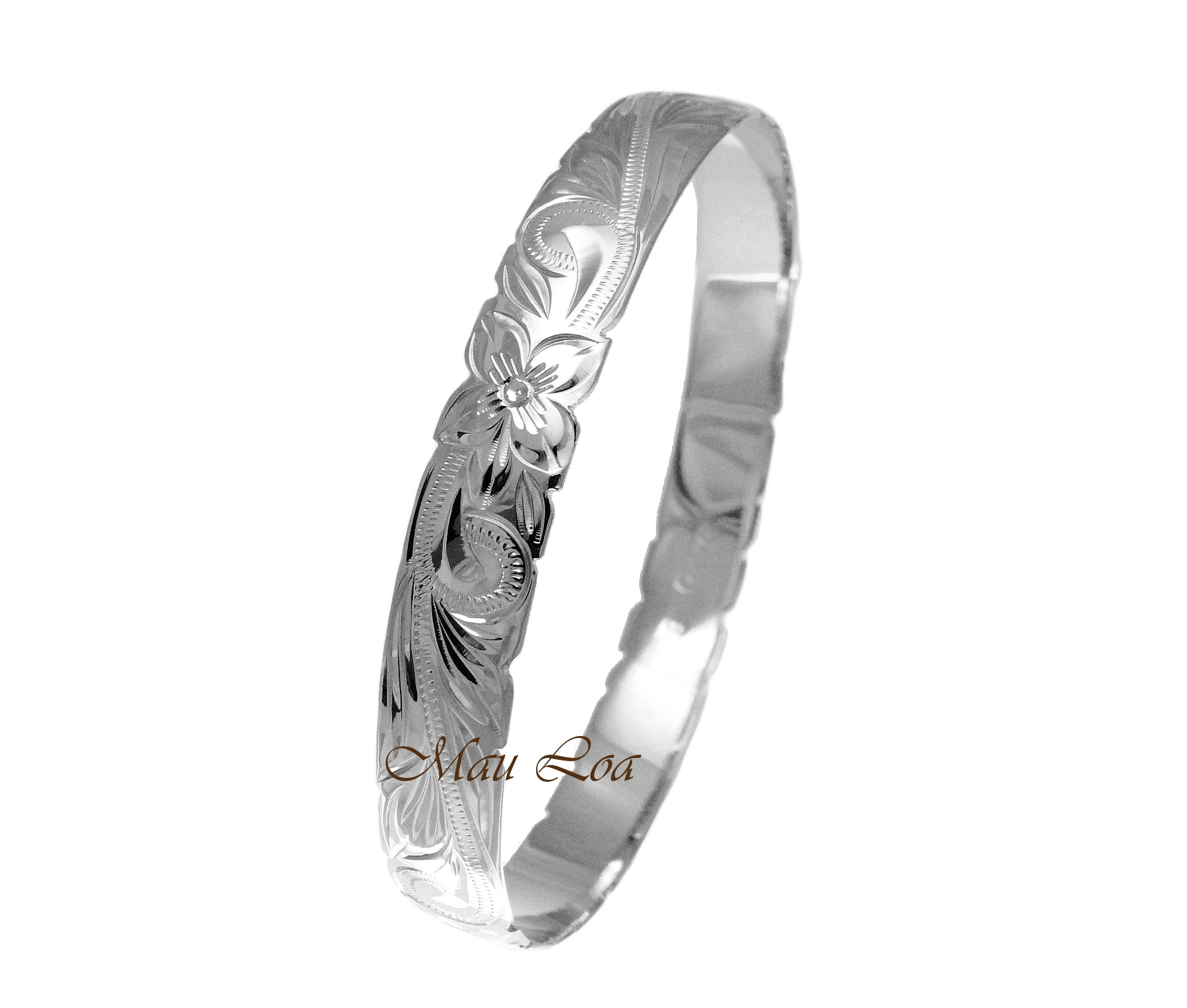 925 Sterling Silver Hawaiian Scroll Plumeria 10mm Cut Out Edge Bangle Size 7-9