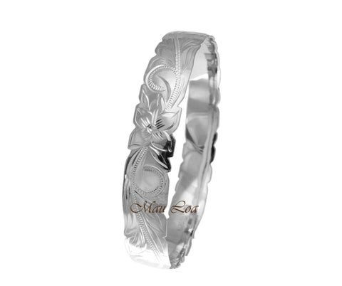 925 Sterling Silver Hawaiian Scroll Plumeria 12mm Cut Out Edge Bangle Size 7-9