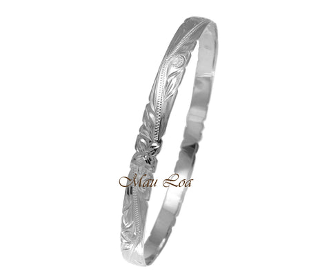 925 Silver Hawaiian Scroll Plumeria 6mm Cut Out Edge Bangle Size 7-9