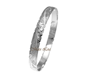 925 Sterling Silver Hawaiian Scroll Plumeria 8mm Cut Out Edge Bangle Size 7-9