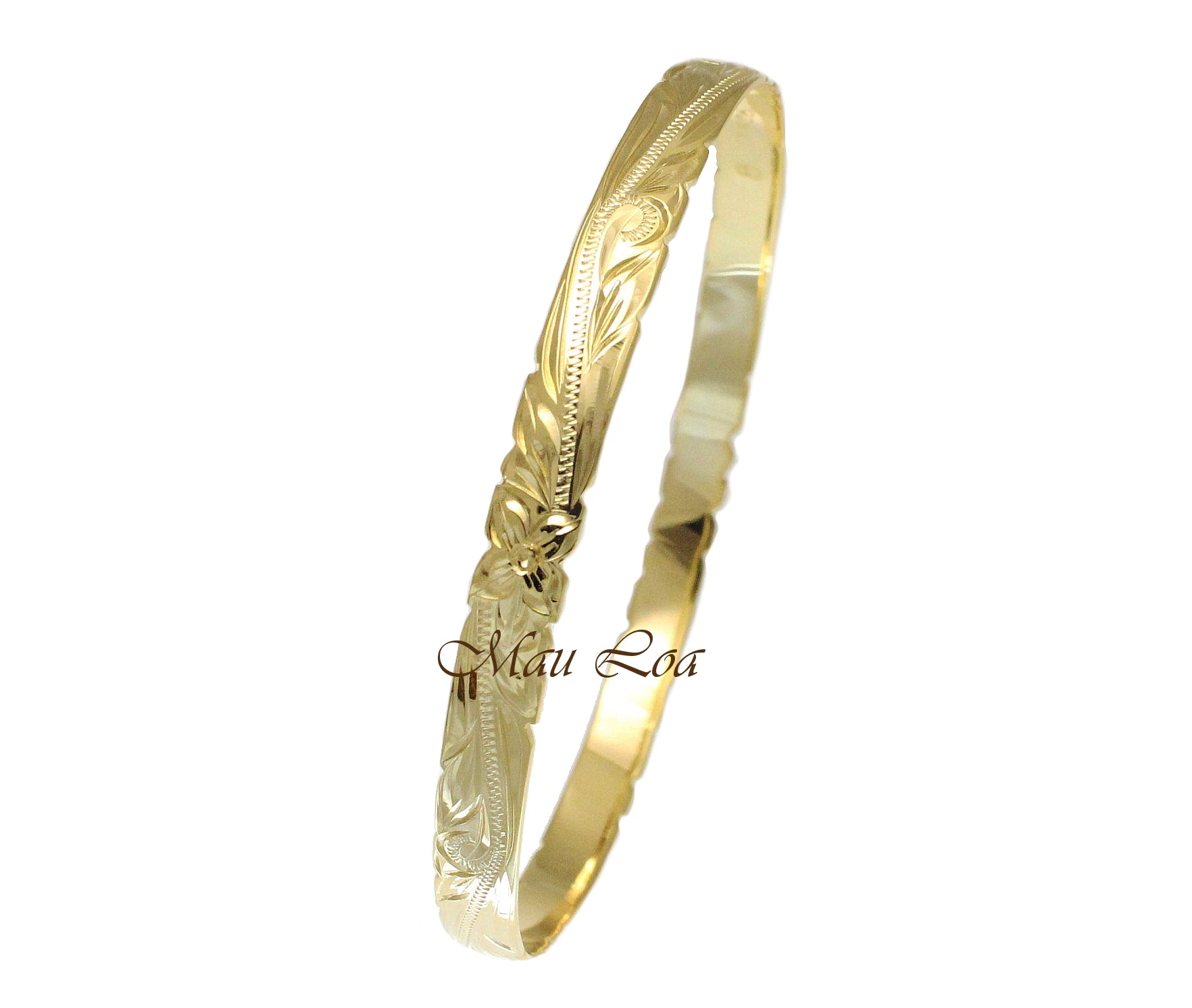 925 Sterling Silver Yellow Gold Plated Hawaiian Scroll Plumeria 6mm Cut Out Edge Bangle Size 7-9