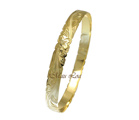 925 Sterling Silver Yellow Gold Plated Hawaiian Scroll Plumeria 8mm Cut Out Edge Bangle Size 7-9