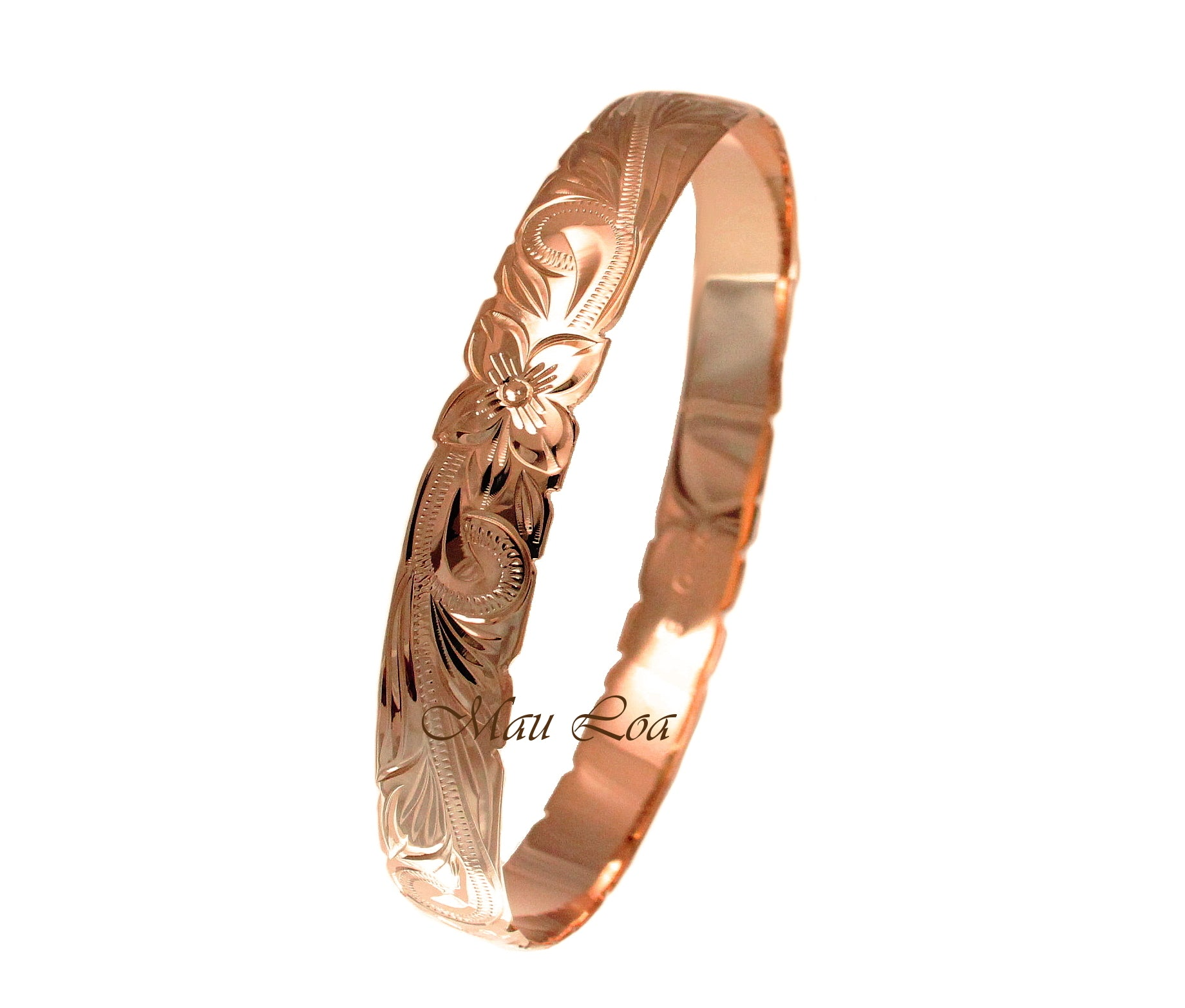 925 Sterling Silver Rose Gold Plated Hawaiian Scroll Plumeria 10mm Bangle Size 7-9