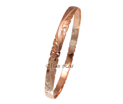 925 Silver Pink Rose Gold Plated Hawaiian Scroll Plumeria 6mm Cut Out Edge Bangle Size 7-9
