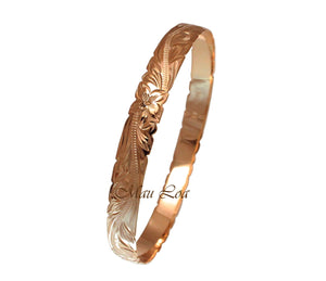 925 Sterling Silver Pink Rose Gold Plated Hawaiian Scroll Plumeria 8mm Cut Out Edge Bangle Size 7-9
