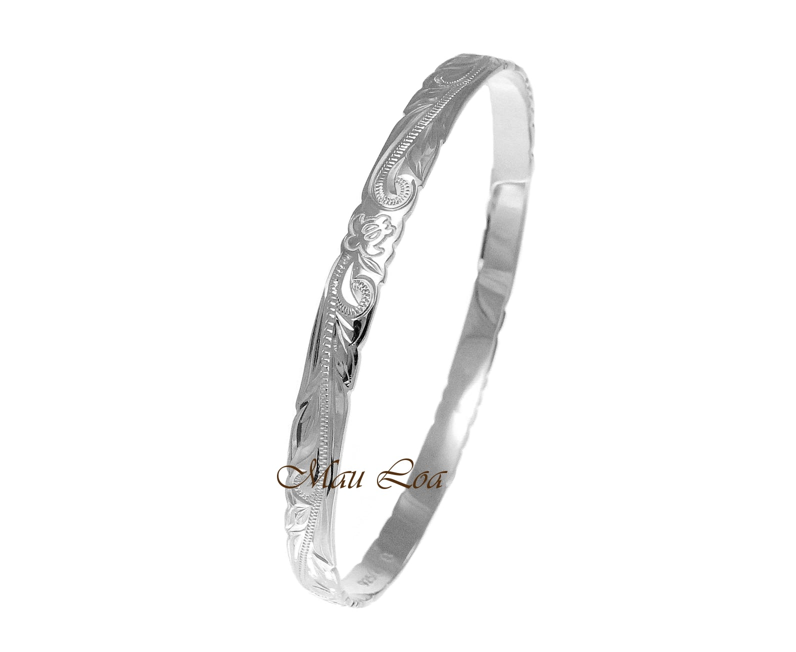 925 Silver Hawaiian Scroll Honu Sea Turtle 6mm Cut Out Edge Bangle Size 7-9