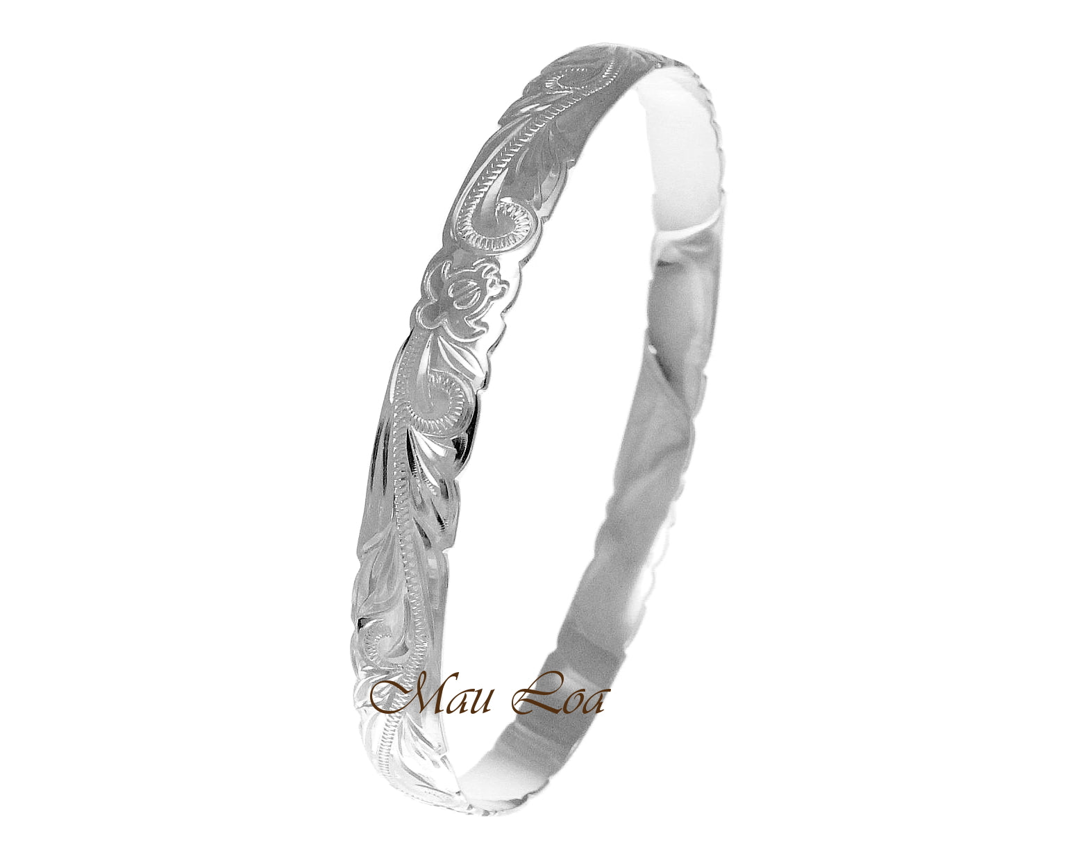 925 Sterling Silver Hawaiian Scroll Honu Turtle 8mm Cut Out Edge Bangle Size 7-9