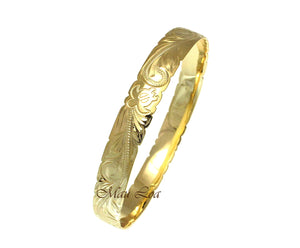 925 Silver Yellow Gold Plated Hawaiian Scroll Honu Turtle 10mm Bangle Size 7-9