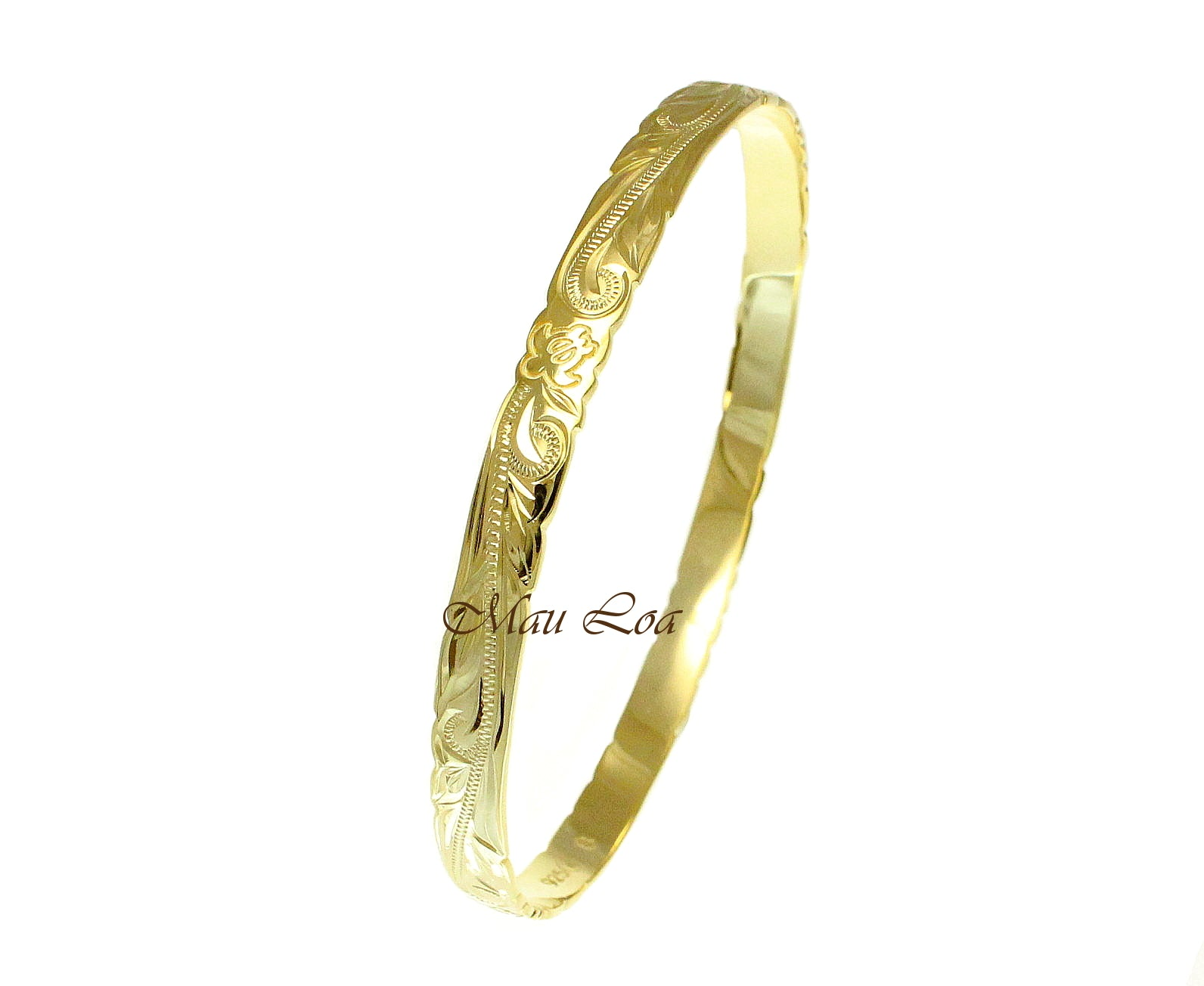 925 Silver Yellow Gold Plated Hawaiian Scroll Honu Turtle 6mm Bangle Size 7-9