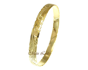 925 Silver Yellow Gold Plated Hawaiian Scroll Honu Turtle 8mm Bangle Size 7-9