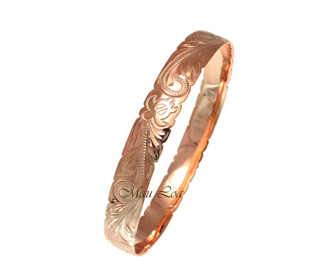 925 Silver Rose Gold Plated Hawaiian Scroll Honu Turtle 10mm Bangle Size 7-9