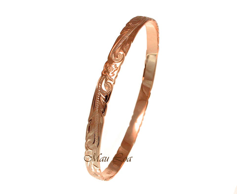 925 Silver Rose Pink Gold Plated Hawaiian Scroll Honu Turtle 6mm Bangle Size 7-9