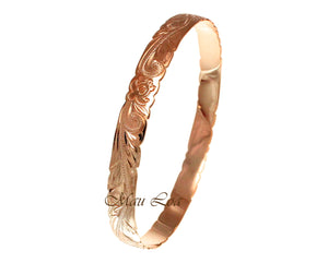 925 Silver Pink Rose Gold Plated Hawaiian Scroll Honu Turtle 8mm Bangle Size 7-9