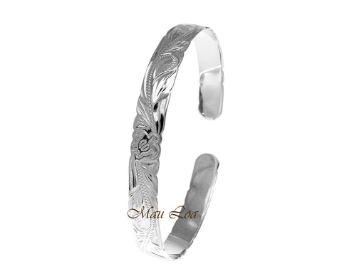 925 Sterling Silver Hawaiian Scroll Honu Turtle Open Cuff 8mm Bangle