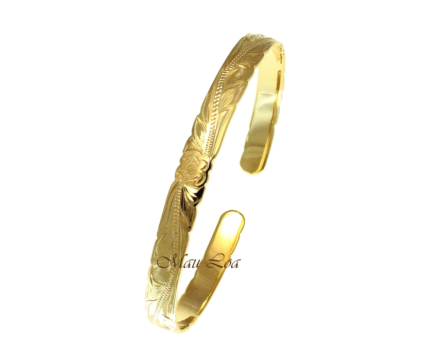 925 Silver Yellow Gold Plated Hawaiian Scroll Honu Turtle Open Cuff 6mm Bangle
