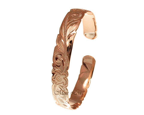 925 Silver Rose Gold Plated Hawaiian Scroll Honu Turtle Open Cuff 10mm Bangle