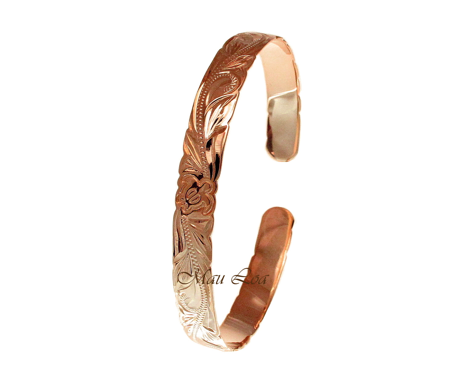 925 Silver Rose Gold Plated Hawaiian Scroll Honu Turtle Open Cuff 8mm Bangle